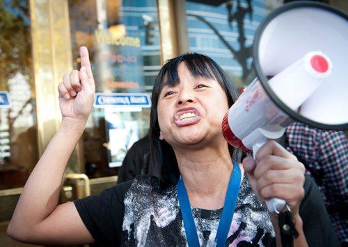 Yvetta Felarca protesting