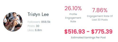Tristyn Lee's earnings per sponsored TikTok post