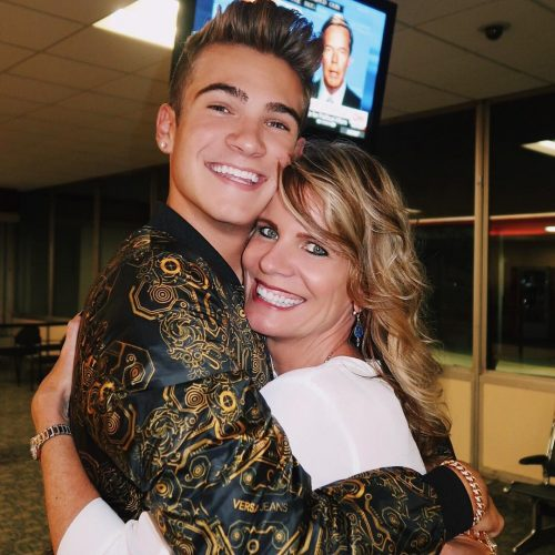 Devin Hayes and his mother