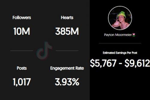 Payton Moormeier's TikTok earnings