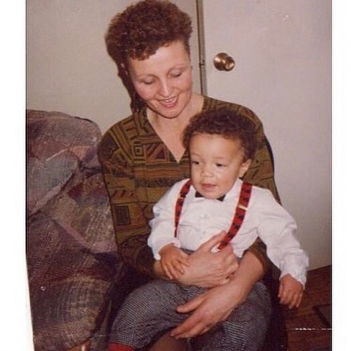 Baby Ryan with his mother