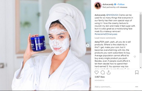 Dulce Candy promoting Nivea