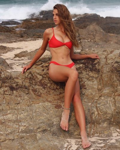 Emily Feld wearing a bikini