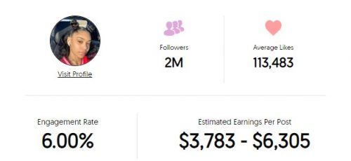 Jessika's Instagram earnings