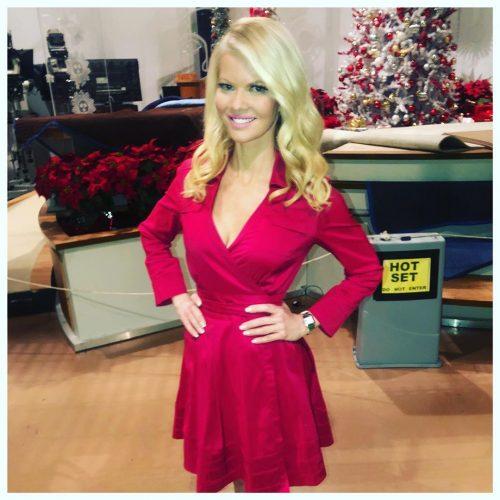 Diane McInerney wearing beautiful red dress