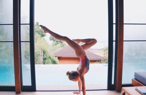 Kalyn Nicholson doing yoga