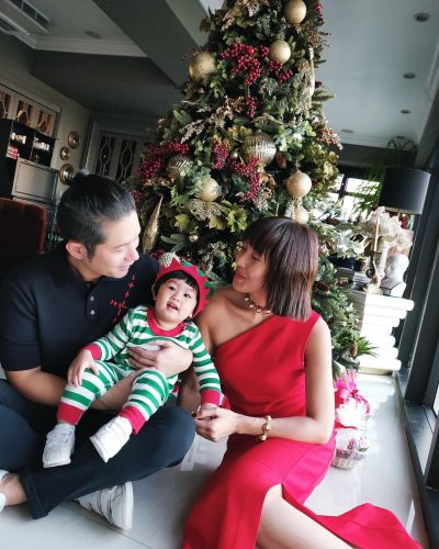 Liz Uy with her husband and son