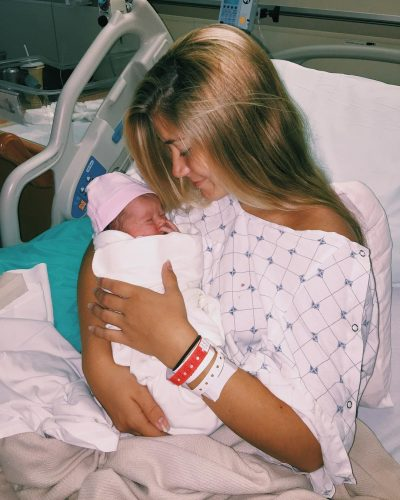 Yasmyn Switzer just after giving birth to Laela