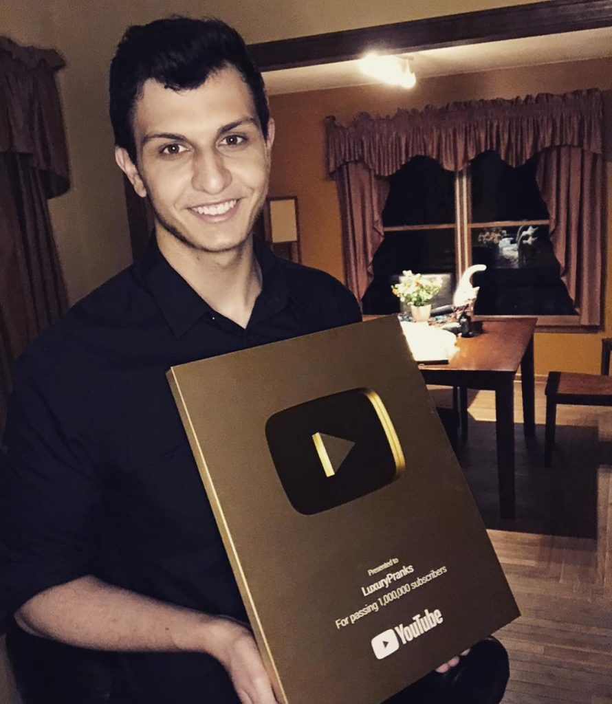 luxurypranks with YouTube play button