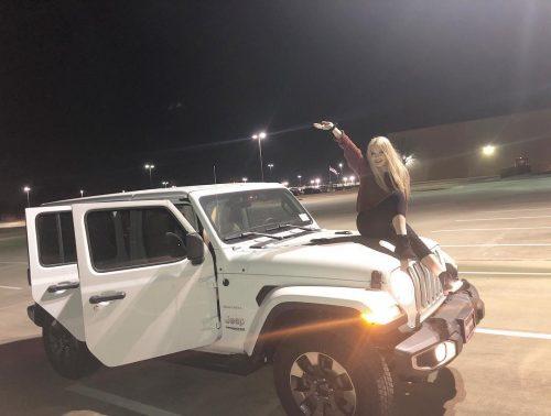 Maddie Lambert on her car