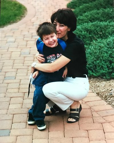 Baby Austin with his mother