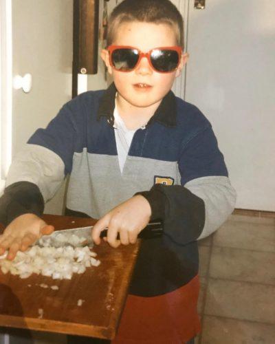Robert Sandberg cutting onions when he was kid