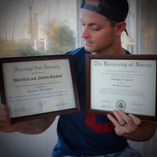 Nick Kosir's degrees