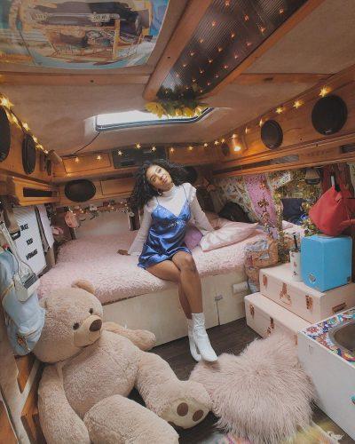 Jennelle Eliana inside her van