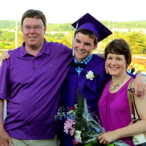 Ryan Prunty's mom and dad at his graduation