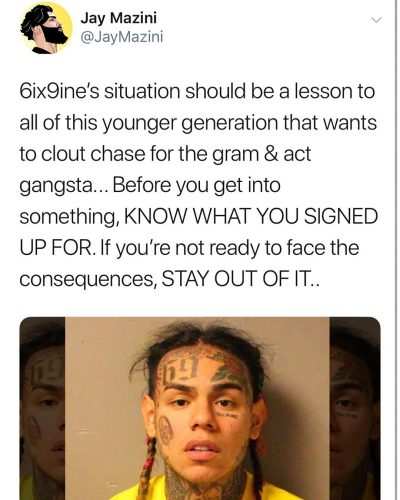 Jay Mazini's say on 6ix9ine controversy