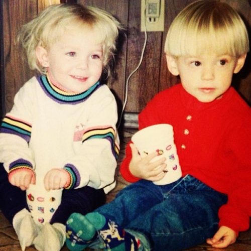 STPeach with her cousin when she was a toddler