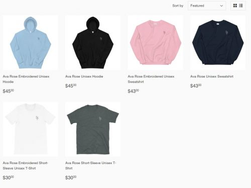 Ava Rose Merch Collection