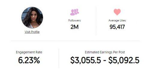 Jessica Marie Garcia's Instagram earnings
