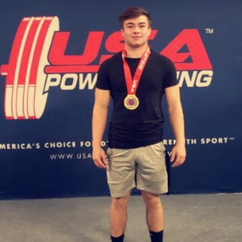 Kyle Colver after winning in a powerlifting competition