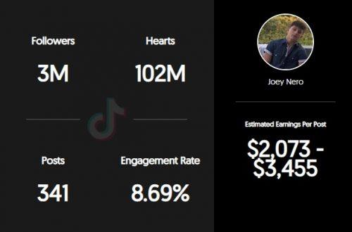 Joey Nero's TikTok earnings