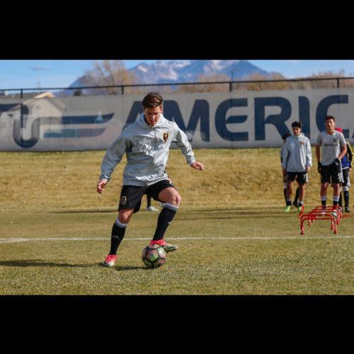 Noah Beck playing soccer