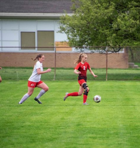 Anna Shumate playing soccer