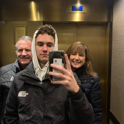 Chase Rutherford with his mom and dad