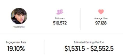 Pierre Boo's Instagram earnings per post