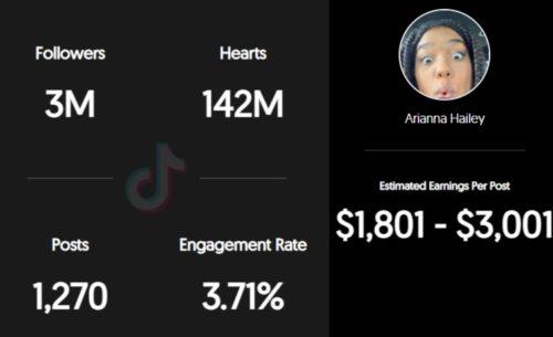 Arianna Hailey estimated TikTok earnings per sponsored post
