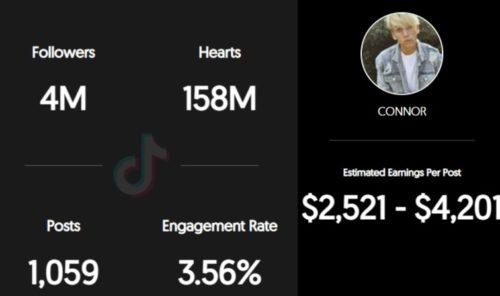 Connor Darlington estimated TikTok earnings per sponsored post