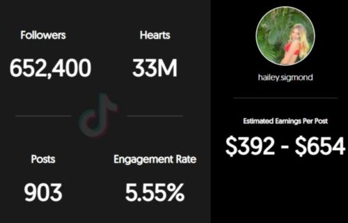 Hailey Sigmond estimated TikTok earnings per sponsored post