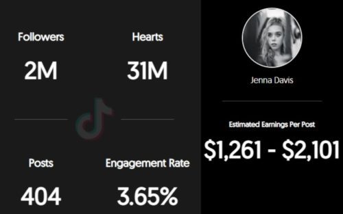 Jenna Davis estimated TikTok earnings per sponsored post