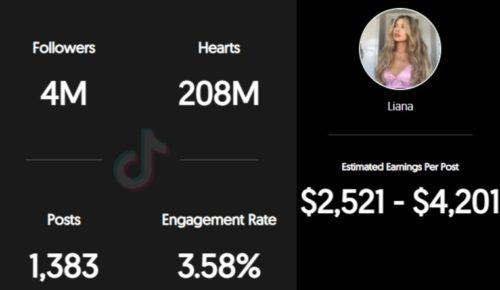 Liana Jade Brooker estimated TikTok earnings per sponsored post