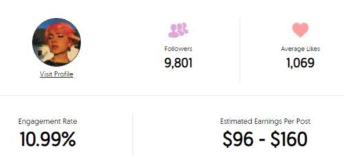 Lilxxxbug estimated Instagram earning