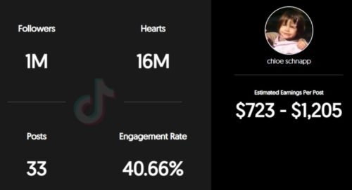 Chloe Schnapp estimated TikTok earning