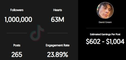 David Green's estimated tikTok earning