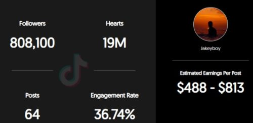 Jake Ceja estimated TikTok earning