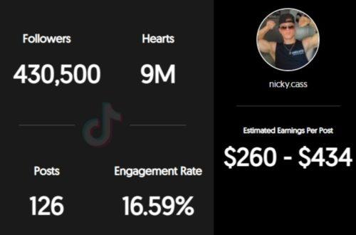 Nick Cassano estimated TikTok earnings per sponsored post