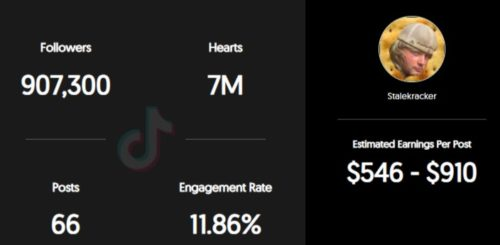 Staleckracker's estimated TikTok earning