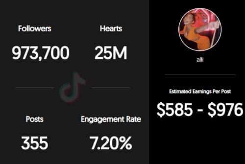 Alliyah's estimated TikTok earnings per sponsored post