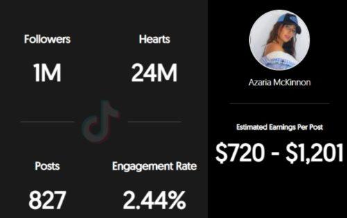 Azaria McKinnon estimated TikTok earnings per sponsored post