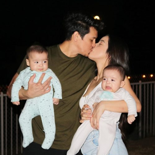 Eric with his girlfriend and children