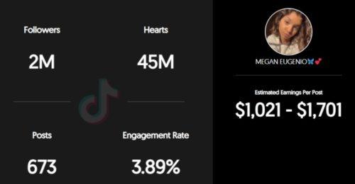 Megan estimated TikTok earning