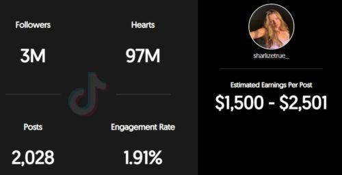 Sharlize True estimated TikTok earning