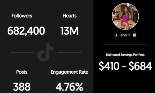 Tina's estimated TikTok earnings per sponsored post