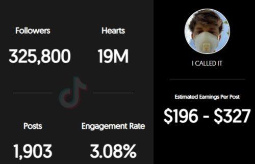 Wehoopin estimated TikTok earnings per sponsored post