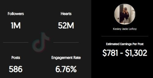 Kesley LeRoy estimated TikTok earning