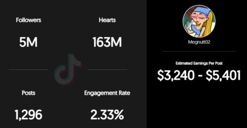 Megnutt estimated TikTok earning