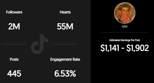 Tyler Gaca estimated TikTok earning